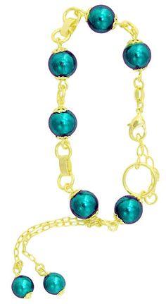 Pulseira folheada a ouro c/ pérolas grandes na cor verde e extensor de tamanho