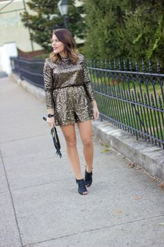 Holiday Party Outfit Idea: a sequin romper
