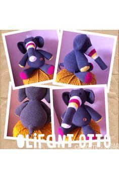 Crochet olifant Otto. Stip en haak.catania grande