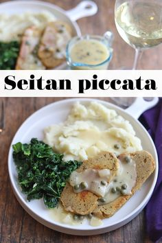 Get a little fancy for your next date night! This easy seitan piccata recipe is ready in only 25 minutes. Perfect for a romantic dinner. Serve with mashed potatoes and sauteed kale. #veganrecipes #vegandinner #piccata #seitan Vegan Entree Recipes, Vegan Dinners, Vegan Food, Healthy Food, Healthy Recipes, Seitan Chicken, Vegan Mashed Potatoes, Sauteed Kale, Finding Vegan