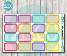 008- Half Boxes Planner Stickers - Erin Condren Sized - Bright Colors - Functional Stickers - Plum Paper Plan - A5 - Filofax - Happy Planner by ZoeKCreations on Etsy