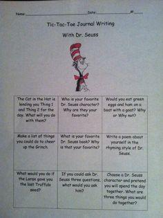 @Candie Bowen Dr. Seuss Tic-Tac-Toe Journal writing!
