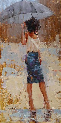 Umbrella Painting - Silk by Laura Lee Zanghetti