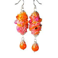 Yummy Neon Orange Earrings, Wire Wrapped Jewelry, Fiber Art, Pink and Orange, Wearable Art