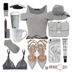 """""""All Grey Everything."""" by indiemess1 ❤ liked on Polyvore featuring Deborah Marquit, Recover, Valentino, Alexander Wang, Kate Spade, M&Co, Burberry, CLUSE, Fitz & Floyd and JINsoon"""