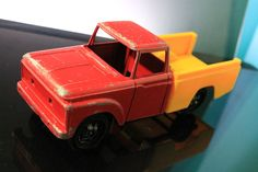 TOOTSIETOY FORD PICK UP TRUCK DIECAST CAB with PLASTIC BED VINTAGE 1960's TOY #oldtoysandcollectables #vintage #toys #TootsieToy #Ford #truck #trucks #pickups #red #yellow #vehicles
