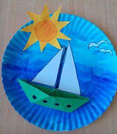 Kids Crafts, Boat Crafts, Ocean Crafts, Summer Crafts For Kids, Spring Crafts, Toddler Crafts, Art For Kids, Easy Crafts, Kid Art