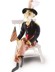 Uncle Sam Soft Sculpture designed by Joe Spencer Doll @ TheHolidayBarn.com old fashion Patriotic Americana decorations for the Fourth of July.