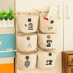 Useful Linen Wall Door Hanging Storage Bag Organizer Cosmetics Makeup Container