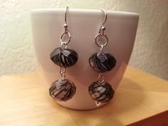 Platinum earrings with lamp worked glass.