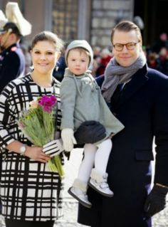 MYROYALS & HOLLYWOOD:  Crown Princess Victoria celebrated  her name day at the Royal palace square in Stockholm with her family, March 12, 2014-Victoria, Estelle and Daniel