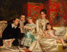 "Michele Gordigiani, ""Cornelia Ward Hall and Her Children,"" 1880 • Oil on canvas • Museum of the City of New York, Bequest of Mrs. Martha Hall Barrett, 61.155.1"