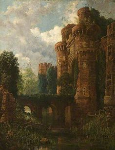 shadesandshadows:  Herstmonceux Castle, oil on canvas by Samuel Rayner, British, 1806-1879. Bury Art Museum, Bury, Manchester, England. Legend has it this Tudor castle is haunted by a nine-foot drummer, a white lady, a gray lady and a lady on a donkey. In life, Lord Dacre beat on a drum to keep suitors away from his much younger wife. She locked him in a room to starve and the drums still sound.  Rayner was a landscape artist who also painted abbeys, churches and old mansions. He was 15…