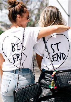 Lookbook Store Tops // Go twinning with your BFF with these white printed besfriend t-shirts. These BFF t-shirts have a crew neckline and loose fit for a cool and comfy look.