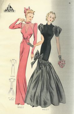 1940s sewing pattern evening gown long dress formal party black pink satin rayon tulip sheath full skirt bow puff sleeves late 30s war era color illustration print ad vintage fashions style