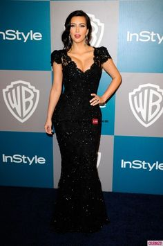 Kim Kardashian Black Beaded Lace Evening Gown