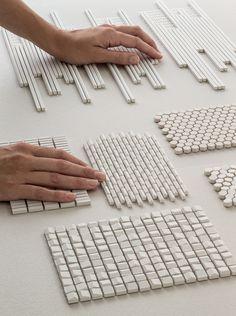 Mosaico de gres porcelánico PHENOMENON AIR BIANCO by MUTINA diseño Tokujin Yoshioka