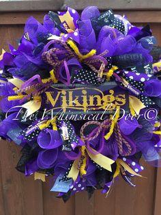 Minnesota Vikings Decomesh Purple Yellow by TheWhimsicalDoor Sports Wreaths, Mesh Wreaths, Holiday Wreaths, Football Wreath, Nfl Football, Diy Wreath, Wreath Ideas, Crafts To Make, Diy Crafts