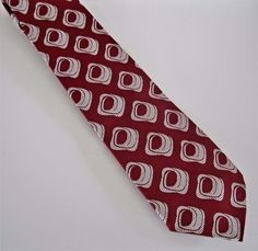 Montgomery Ward Men's Neck Tie Vintage Red White Geometric Pattern Suit #MontgomeryWard #Vintage