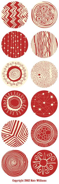 Circular surface design patterns for silkscreen Hola Amiga pillows / cushions by Nate Williams