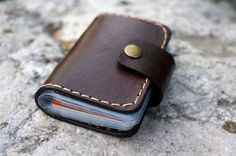 Brown leather card holder  , Card case, card wallet,Personalized