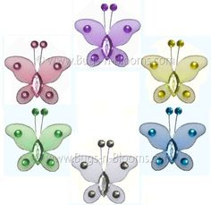 "Could hang string form the anteane and hang! 2"" Assorted Mini (X-Small) Bead Butterfly Butterflies 6pc set (Purple, Pink, Yellow, Blue, Green and White) - nylon nursery bedroom girls room ceiling wall decor, wedding birthday party baby bridal shower $5.95"
