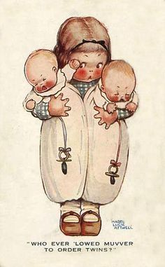 © Mabel Lucie Attwell - Whoever allowed mother to order twins art girl baby toddler