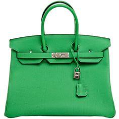 Hermes Bamboo Togo Birkin 35cm Palladium Hardware (75.170 BRL) ❤ liked on Polyvore featuring bags, handbags, hermes, green bags, kiss-lock handbags, lock bag, hermes purse and bamboo purse