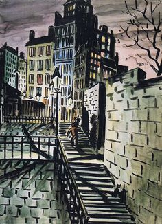 by Frans Masereel (Belgian 1889 - Watercolor Paintings, Watercolours, Halloween Images, 3 Arts, Wood Engraving, Urban Landscape, Gravure, Illustration Art, Illustrations