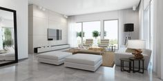 minimalismus im wohnzimmer weiß tischlampe holz teppich