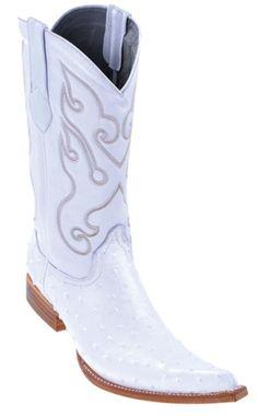 Los Altos completos blancas de avestruz Quill botas de vaquero occidental para los hombres en 189 dólares