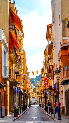 Street in Blanes, Girona, Spain.   http:/www.blanes.nl/