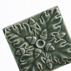 Ceramic Art Tile  Oak Leaves and Acorns  olive by LesperanceTile