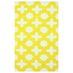 Hand-tufted rug with a yellow geometric trellis motif.