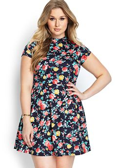 Forever 21 Plus Size Blue Garden Party Skater Dress XL/1X/2X #FOREVER21 #Skater #Casual