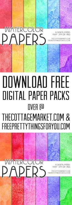 Free Watercolor Digital Paper Pack 1 - The Cottage Market
