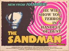 Fake movie poster for a Sandman movie adaption from Neil Gaiman's comics. LOVE that the artist has it coming out from Hammer.