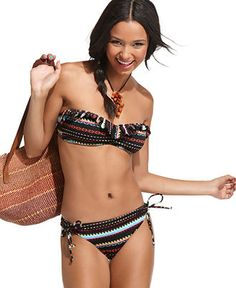 Roxy Swimsuit, Bandeau Tribal Print Ruffle Bikini Top & Side Tie Brief Bottom - Womens Swim - Macy's