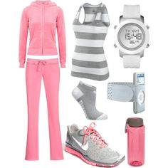 Athletic pink + grey, by eileen sporty outfits, fashion outfits, workout at Workout Attire, Workout Wear, Workout Outfits, Sporty Outfits, Cute Outfits, Fashion Outfits, Fashion Wear, Looks Academia, Winter Outfits