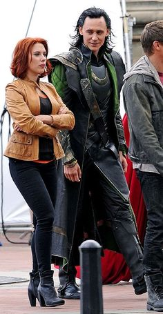 "Tom Hiddleston as ""Loki"", The Avengers, New York 2.9.2011 with Scarlett Johansson as ""Natasha Romanoff"""