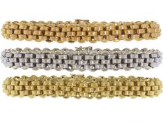 Trio of Bracelets in Rose, White and Yellow 18K from Beladora