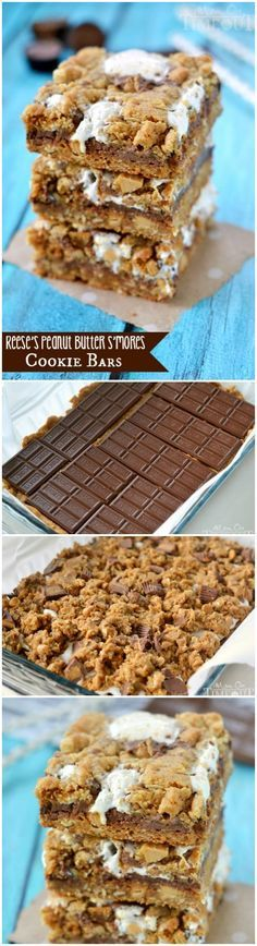 Reese's Peanut Butter S'mores Oatmeal Cookie Bars - total indulgence in each bite! An easy dessert recipe the whole family will enjoy! | MomOnTimeout.com