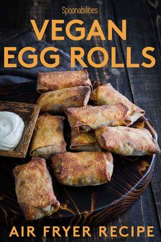Air fryer vegan egg rolls is an Indian inspired appetizer recipe filled with vegetables, beyond meat, and Vegan Fig Salami from Hellenic Farms. Cooked in the air fryer, these crispy and golden egg rolls are one of our easy 1-2-3 recipes and come with an extra recipe of a creamy, spicy, and plant-based yogurt garam masala sauce. Impress your vegan guests, just don't tell them how easy they were to make. #vegan #appetizer #eggroll #asianfood #vegetarian via @Spoonabilities Spicy Vegetarian Recipes, Vegetarian Appetizers, Easy Appetizer Recipes, Yummy Appetizers, Gourmet Recipes, Vegan Recipes, Snack Recipes, Easy Recipes, Snacks