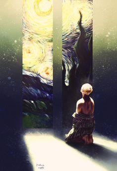 Taehyung and Van Gogh Vkook Fanart, Taehyung Fanart, Van Gogh Wallpaper, Bts Wallpaper, Bts Boys, Bts Bangtan Boy, Bts Anime, Boy Drawing, Bts Wings