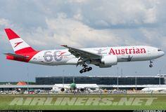 Austrian Airlines Boeing 777-2Q8/ER landing at Vienna-Schwechat, May 8, 2018