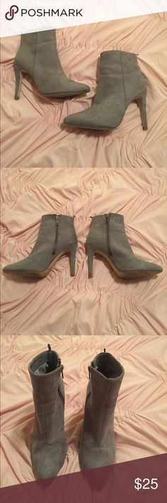 Grey Faux Suede Pointed Toe Booties Worn but still has a lot of life left! Signs of wear show in pictures! Grey Faux Suede Booties H&M Shoes Ankle Boots & Booties