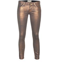 Current/Elliott The Stiletto Bronze Coated Foil Coated Skinny Jeans ($375) ❤ liked on Polyvore