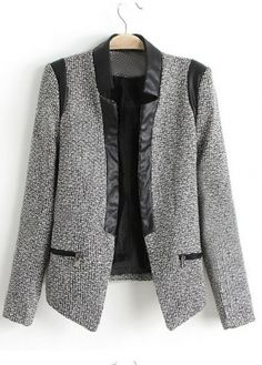 European Style Color Blocking Long Sleeve Blazers for Woman