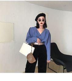 FFSTUDIO定制 时髦复古灯笼袖大v领西装料衬衫-淘宝网全球站