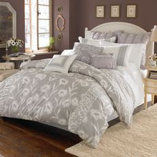 gray and white comforter